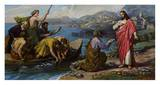 Jesus and the Fishermen Poster by F. Guerrero