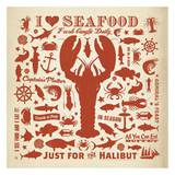 Lobster Pattern Square Art by  Anderson Design Group