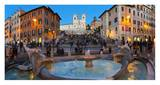 Piazza di Spagna at night, Rome Print by Sylvain Sonnet