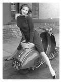 Posing on Motor Scooter Poster
