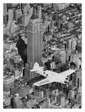 Hawks Airplane in Flight over New York City Print