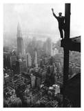 Waving from Empire State Building Construction Site, 1930 Art