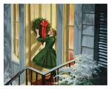 Girl Hanging Wreath Posters by Peter Stevens