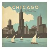 Chicago, The Windy City Square Print by  Anderson Design Group
