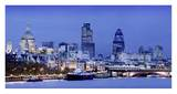 River Thames and London cityscape at dusk Prints