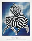 Zebras (Blue) Collectable Print by Victor Vasarely