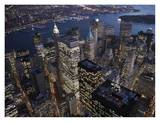 Night aerial view of the Financial District, NYC Prints by Cameron Davidson