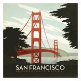 San Francisco Golden Gate Bridge Square Láminas por Anderson Design Group