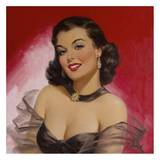 Pinups: Woman Against Red Art by Art Frahm