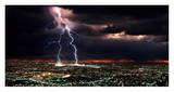 Lightning over the city Prints by Rob Matheson