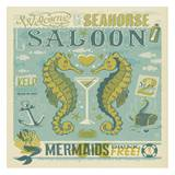 Seahorse Saloon Square Poster by  Anderson Design Group