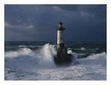 """Der Leuchtturm """"Ar-Men"""", Bretagne Kunstdrucke von Jean Guichard"""