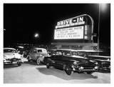 Cars at a Drive-In Theater Print