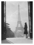 Woman looking toward Eiffel Tower Poster by H. Armstrong Roberts