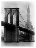 Brooklyn Bridge and Woolworth Building, 1921 Plakat autor Irving Underhill