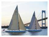 Racing Sailboats and Bridge Poster von Onne van der Wal