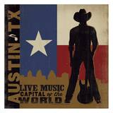 Austin, Live Music Capital of the World Square Prints by  Anderson Design Group