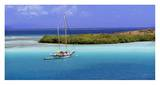 Sailboat at anchor, Island of Culebra, Puerto Rico Print by George H.H. Huey