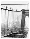 Men Walk on Brooklyn Bridge, 1926 Print