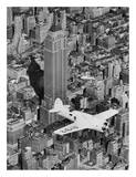 Hawks Airplane in Flight over New York City Reprodukcje