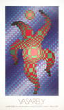 Clown (Blue) Collectable Print by Victor Vasarely