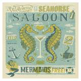 Seahorse Saloon Square Poster por Anderson Design Group