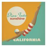 Dive into Sunshine California Square Poster by  Anderson Design Group