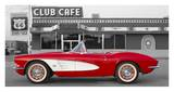 1961 Chevrolet Corvette at Club Cafe on Route 66 Prints