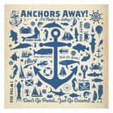 Anchor Pattern Square Posters por Anderson Design Group