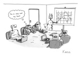 "Toaster-headed man in a business meeting with robots thinks to himself, ""I… - New Yorker Cartoon Premium Giclee Print by Zachary Kanin"