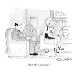 """Wait, this is yesterday's."" - New Yorker Cartoon Premium Giclee Print by Victoria Roberts"