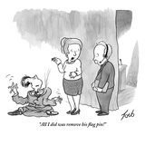 """""""All I did was remove his flag pin!"""" - New Yorker Cartoon Premium Giclee Print by Tom Toro"""