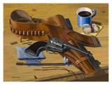 Gun & Holster on Table Art by Keith Freeman