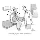 """I'd like to get your arrow count down."" - New Yorker Cartoon Premium Giclee Print by Leo Cullum"