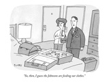 """So, then, I guess the Johnsons are feeding our clothes."" - New Yorker Cartoon Premium Giclee Print by Peter C. Vey"