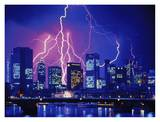 Lightning over skyline Posters by Eberhard Streichan