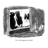 """Yes, I tried tapping on the glass"" - New Yorker Cartoon Premium Giclee Print by Robert Weber"