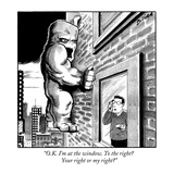"""O.K. I'm at the window. To the right? Your right or my right?"" - New Yorker Cartoon Premium Giclee Print by Harry Bliss"