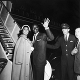Nat King Cole and His Wife Maria Cole Wave to Bystanders, March 1959 Photographic Print by William Lanier