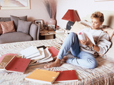 Vanessa Williams, Relaxes While Reading over Movie Scripts, 1987 Photographic Print by Vandell Cobb