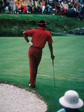 Professional Golfer Lee Elder Waits His Turn to Putt,  April 1975 Master Tournament Photographic Print by Moneta Sleet