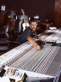 Comedian and Actor Eddie Murphy Listens to the Playback of One of His Tunes, April 1994 Photographic Print by Moneta Sleet