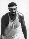 Wilt Chamberlain of the Los Angeles Lakers Tries His Hand at Volleyball, 1970 Photographic Print by Leroy Patton