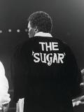 "Sugar Ray Leonard, Enters the Ring Wearing ""The Sugar"" Slogan on His Robe, May 11, 1984 Photographic Print by Vandell Cobb"