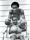 Sugar Ray Leonard and Six-Year-Old Son, Ray Jr. Photographic Print by Maurice Sorrell