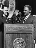 Harold Washington, Swearing in as Mayor of Chicago, Illinois 1983 Photographic Print by Michael Cheers