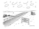 A long, country road is pictured with a barn on one side and a small house… - New Yorker Cartoon Premium Giclee Print by Mick Stevens