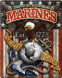 USMC Marine Corps Fighting Eagle Metal Sign Placa de parede