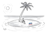 Bearded man sits on a deserted island. A campaign sign in front of him rea… - New Yorker Cartoon Premium Giclee Print by Bob Eckstein