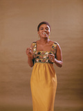 South African Singer Miriam Makeba Displays Beautiful Garb Photographic Print by Moneta Sleet